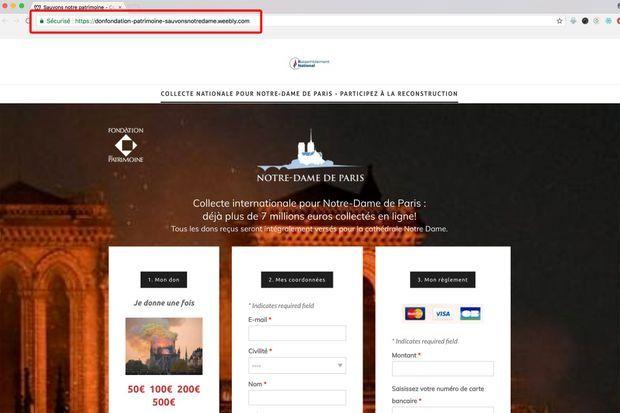 Capture d'écran d'un site frauduleux, sur lequel figure étrangement un logo du Rassemblement national. L'url trompeuse est encadrée en rouge.