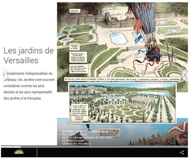 """Un slide de l'exposition virtuelle """"Le château de Versailles dans la bande dessinée"""""""