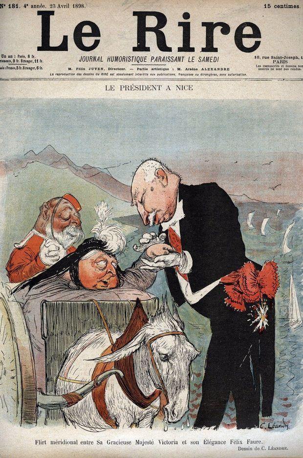 """Rencontre à Nice du président Félix Faure et de la reine Victoria - caricature par Charles Léandre parue dans """"Le Rire"""" du 23 avril 1898"""