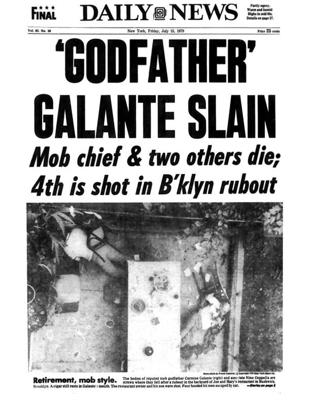La une du New York Daily News au lendemain de l'assassinat : « Le 'Parrain' Galante tué ».