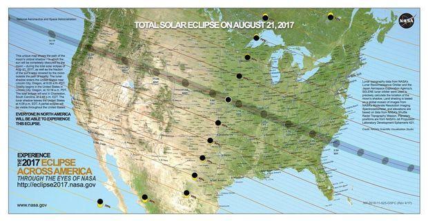 Une carte montrant le trajet de l'éclipse, publiée par la Nasa.