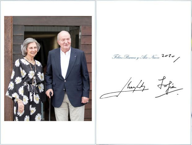 Carte de voeux de l'ancien roi Juan Carlos d'Espagne et de l'ancienne reine Sofia dévoilée en décembre 2019