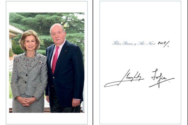 La carte de voeux 2018 de l'ex-roi Juan Carlos et l'ex-reine Sofia d'Espagne, dévoilée le 10 décembre 2018