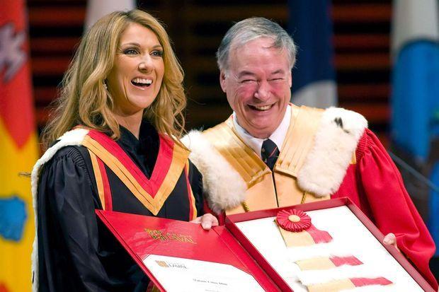 Céline Dion, en 2008, à l'Université Laval, à Québec