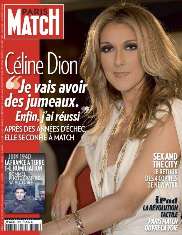 """Céline Dion : """"Je vais avoir des jumeaux. Enfin, j'ai réussi."""" - couverture du Paris Match n°3185, 3 juin 2010"""