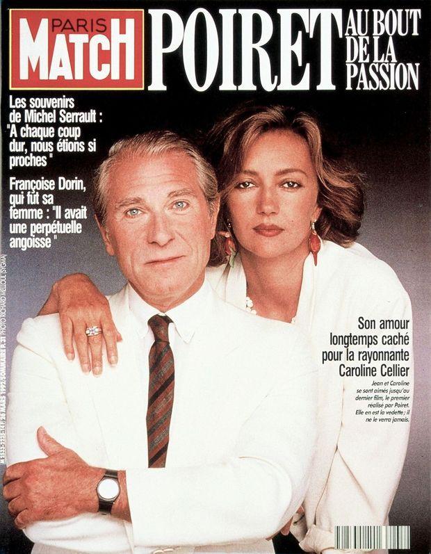 Caroline Cellier et Jean Poiret, en couverture de Paris Match n°2235, 26 mars 1992