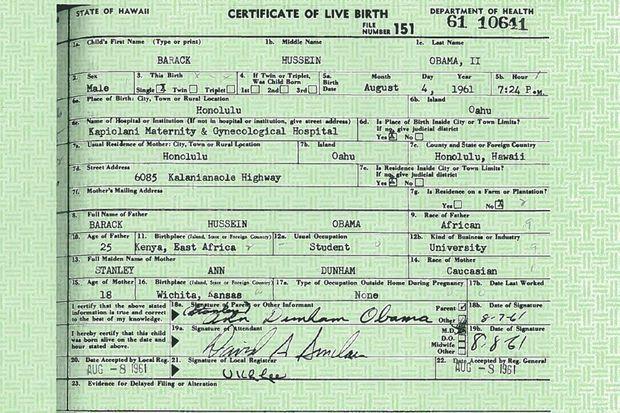 Le certificat de naissance de Barack Obama.