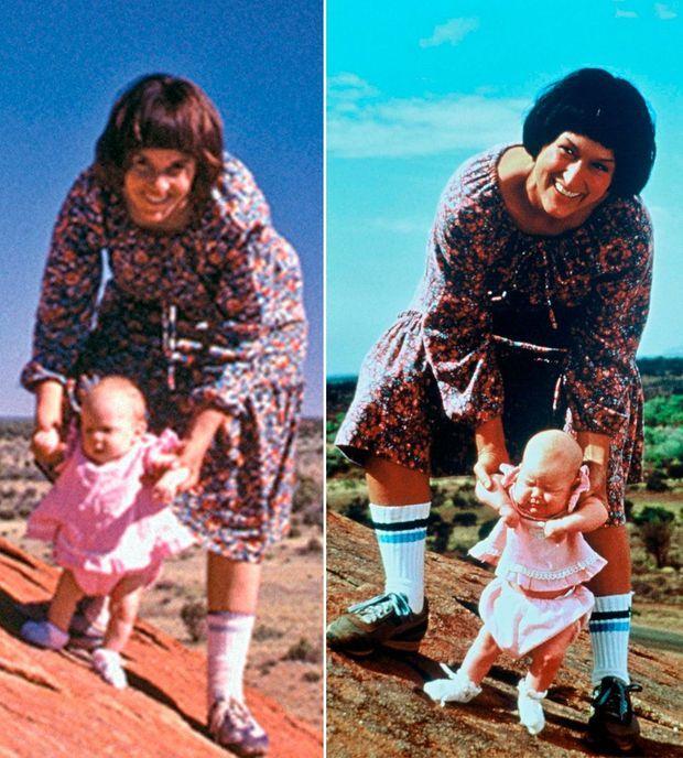 La dernière photo d'Azaria, le matin même du drame, avec sa mère. A droite, Meryl Streep s'est transformée en Lindy pour jouer le rôle de la jeune femme.