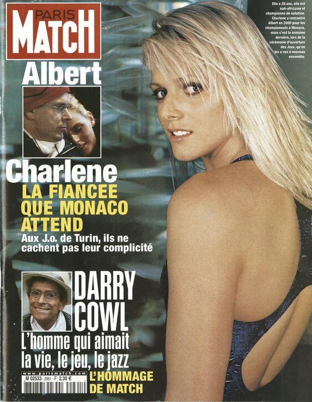 """""""Charlene, la fiancée que Monaco attend"""" - Couverture de Paris Match n° 2961, daté du 16 février 2006."""