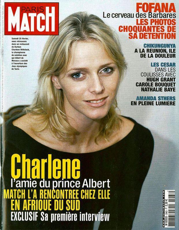 « Charlene, l'amie du prince Albert. Match l'a rencontrée chez elle en Afrique du Sud. Exclusif, sa première interview. » - Couverture du Paris Match n°2963, 2 mars 2006.