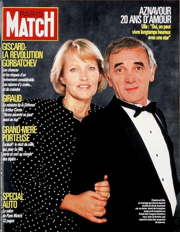 Charles Aznavour et Ulla en couverture de Paris Match, n°2003, daté du 16 octobre 1987.