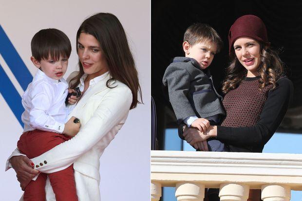 Charlotte Casiraghi et son fils Raphaël : à gauche lors du Grand Prix de Monaco le 13 mai 2017, à droite lors de la fête nationale monégasque, à Monaco, le 19 novembre 2017