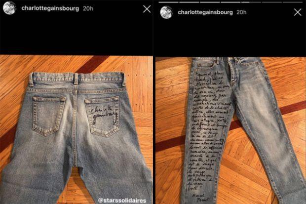 Charlotte Gainsbourg offre pour la tombola solidaire l'un de ses jeans préférés
