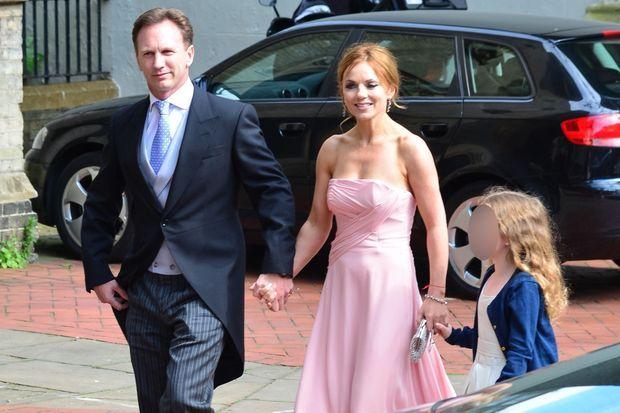 Christian Horner, Geri Halliwell et sa fille Bluebell lors du mariage de Poppy Delevingne, en mai dernier.
