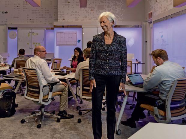 Un manager populaire : Christine Lagarde dans le laboratoire d'innovation du FMI, créé sous son mandat.