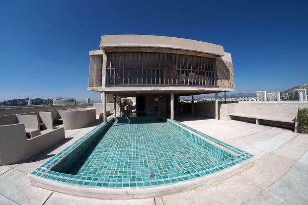 Le toit de la Cité radieuse, conçue par Le Corbusier, photographié en 2015 à l'occasion des 50 ans du décès de l'architecte.