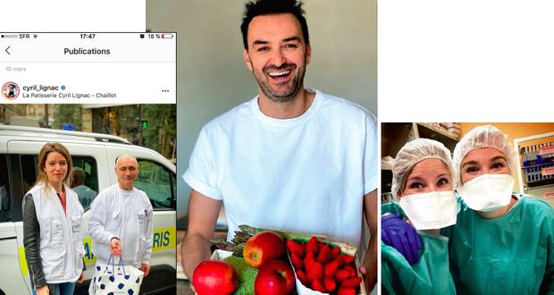Livraison de gâteaux à l'hôpital Necker. Le 17 mars sur Instagram, Cyril a commenté: «Merci à tout le personnel hospitalier et médical!». A droite: Le 2 avril sur Instagram, Cyril Lignac rend hommage à sa sœur infirmière (à droite sur la photo). «Tellement fier de toi », écrit le chef