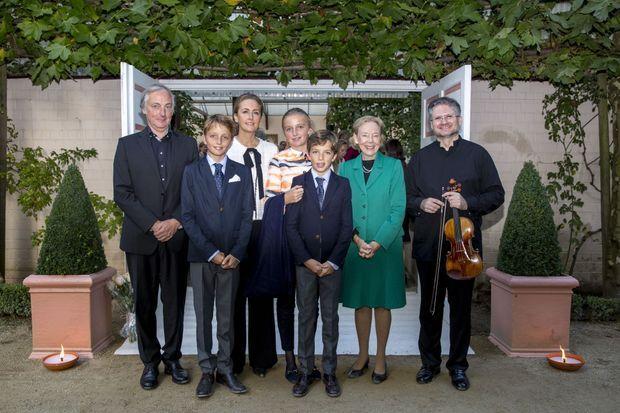 La princesse Claire de Belgique et ses trois enfants à La Hulpe, le 16 septembre 2017