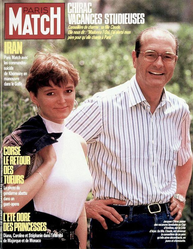 Claude et Jacques Chirac en couverture de Paris Match n°1995, daté du 21 août 1987.