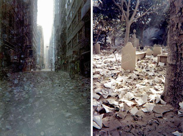 La désolation… Ces deux images ont été prises après l'effondrement des deux tours. Mais lorsque j'arrive sur les lieux, sans rien savoir de ce qui s'est passé, quelques instants après la chute de la première tour, c'est ce spectacle que je découvre. Sans comprendre.