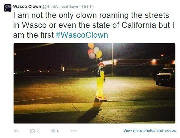 """""""Il y a plusieurs clowns à Wasco mais c'est moi le premier"""" rappelle le vrai clown de Wasco sur son compte Twitter."""