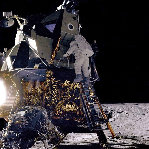Alan Bean (Apollo 12) descend du module pour marcher sur la Lune, le 19 novembre 1969.