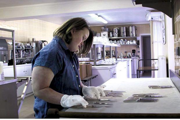 Julia dans les cuisines de l'Elysée, en 2016.