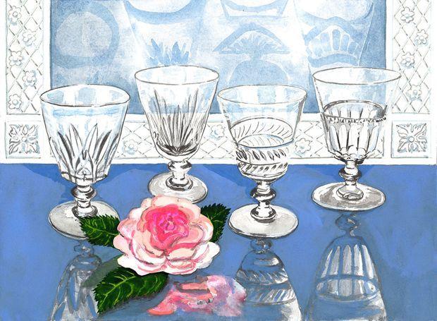 """Les quatre verres à pied de la """"Galerie des Reines"""""""
