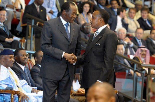 Au Brukina Faso, une révolte populaire en octobre 2014 a entrainé la chute du président Blaise Compaoré (à g.), Denis Sassou-Nguesso (à dte) est encore président de la République du Congo-Brazzaville