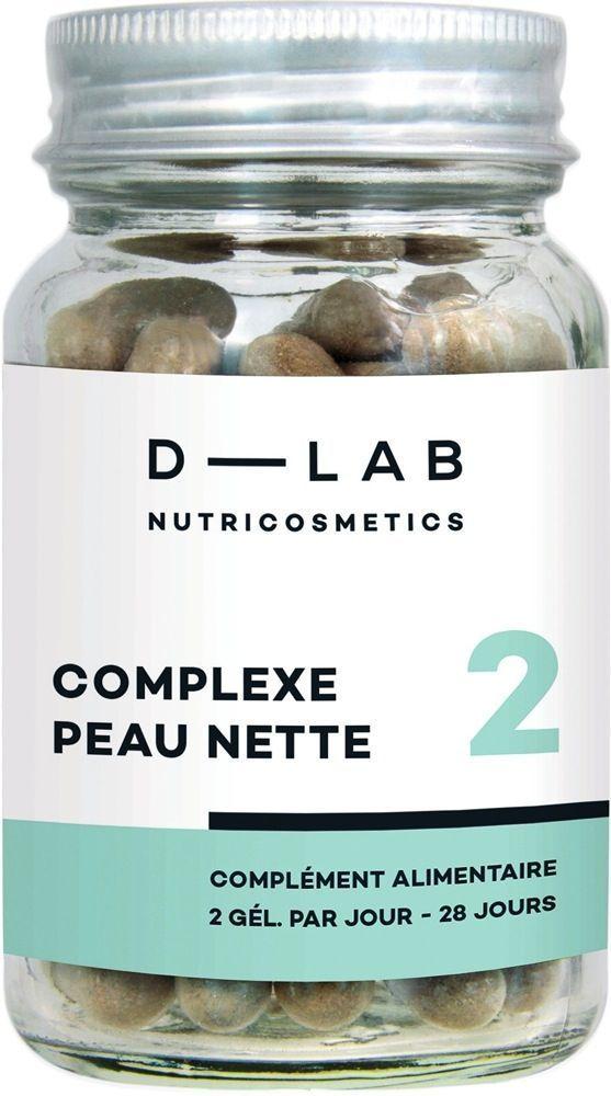 Complexe peau nette, D-Lab Nutricosmétics, 22,80 € le flacon de 56 gélules en exclusivité sur sephora.fr.