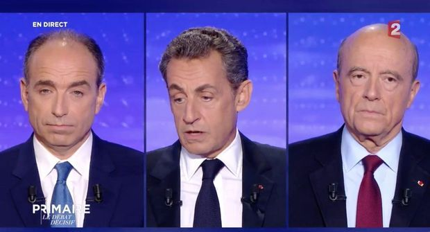 Jean-François Copé, Nicolas Sarkozy et Alain Juppé jeudi soir sur Europe 1 et France 2.