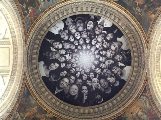 La coupole du Panthéon habillée de l'oeuvre de JR.