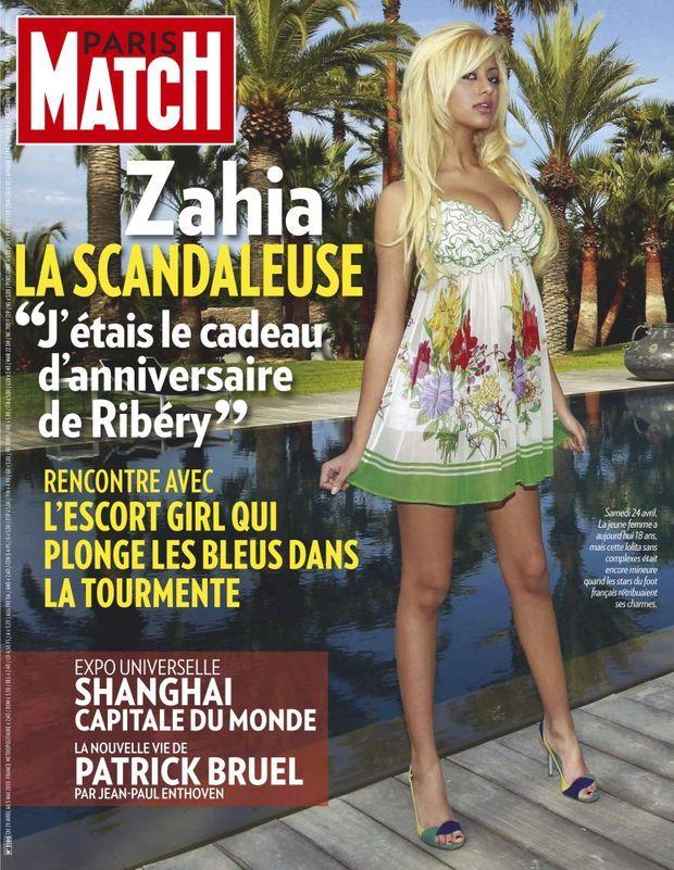 « Zahia, la scandaleuse : 'J'étais le cadeau d'anniversaire de Ribery' » - Paris Match n°3180, 29 avril 2010.