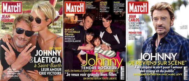 Le combat de Johnny en couverture de Match (n°3175, 25 mars 2010 / n°3266, 22 décembre 2011 / n°3283, 19 avril 2012)