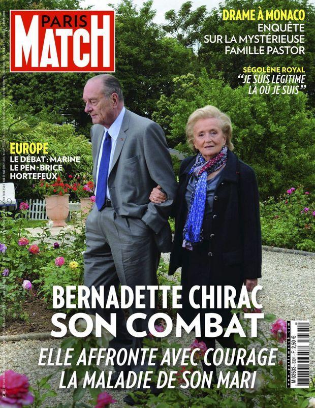 « Bernadette Chirac, elle affronte la maladie de son mari » - Paris Match n°3391, 15 mai 2014.