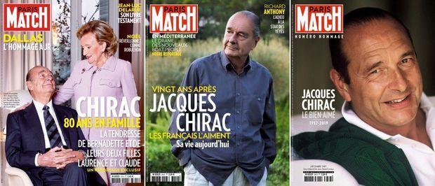 Le combat de Jacques Chirac en couverture de Match (n°3315, 29 novembre 2012 / n°3440, 23 avril 2015 / n°3673, 30 septembre 2019)