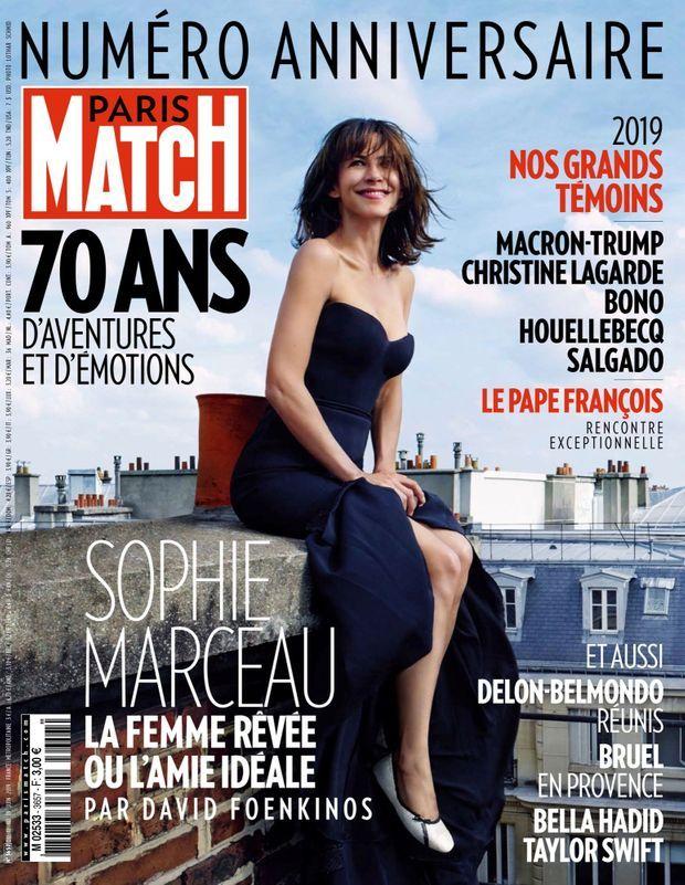 Sophie Marceau en couverture du numéro anniversaire des 70 ans de Paris Match, n°3657, 12 juin 2019.