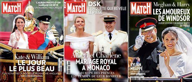 Trois mariages royaux en couverture de Match : Kate et William (n°3233, 3 mai 2011) ; Charlène et Albert (n°3242, 5 juillet 2011) ; Meghan et Harry (n°3602, 23 mai 2018).