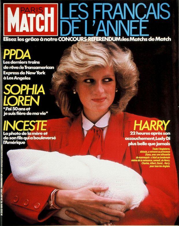 """""""22 heures après son accouchement, Lady Di plus belle que jamais"""" - Paris Match n°1844, 28 septembre 1984."""