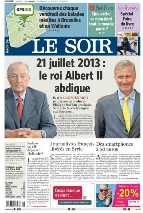 couverture soir roi belge-