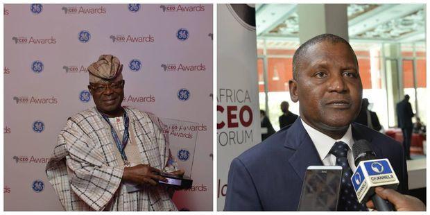 Oba Otudeko (à g.) heureux patron du Honeywell Group est Nigérian comme Aliko Dangote (à dte), l'homme le plus riche d'Afrique qui a bâti sa fortune avec trois camions de ciment à la fin des années 70 et qui pèse plus de 15 milliards de dollars.