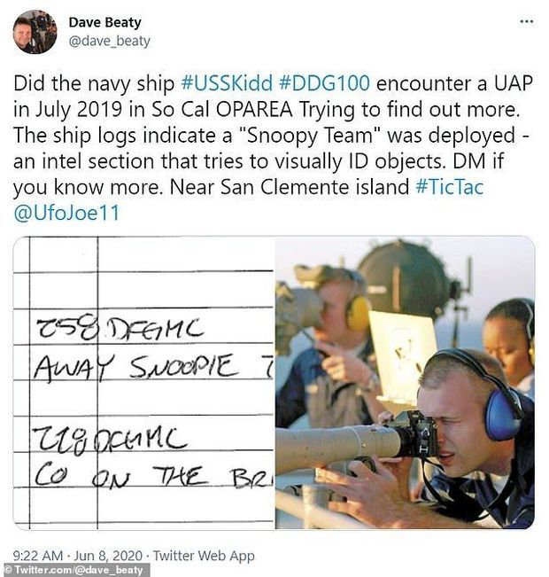 Dans ce tweet, l'extrait du journal de bord de l'USS Kidd notant la mise en action de l'équipe SNOOPIE.
