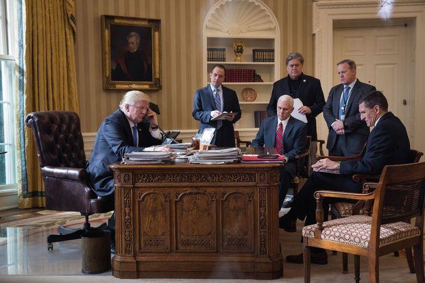 Dans le bureau Ovale, le 28 janvier 2017,