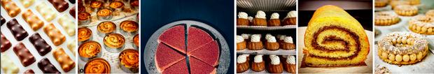 Dans ses boutiques: oursons guimauve, pains aux raisins, tarte gianduja, babas au rhum, roulé au chocolat, paris-brest. cyrillignac.com.