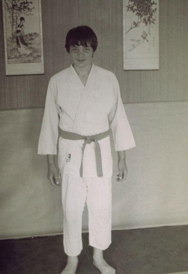 David Douillet en 1983. Le futur champion est âgé de 14 ans.