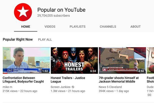 La vidéo sur David Hogg est numéro un dans la catégorie «Trending».