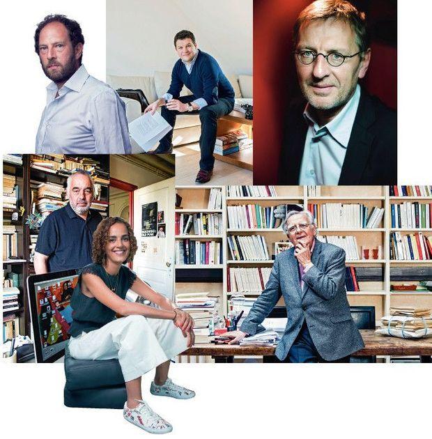 De g. à dr. et de ht en bas : Olivier Guez, Guillaume Musso, Grégoire Delacourt, Philippe Jaenada, Leïla Slimani et Bernard Pivot.