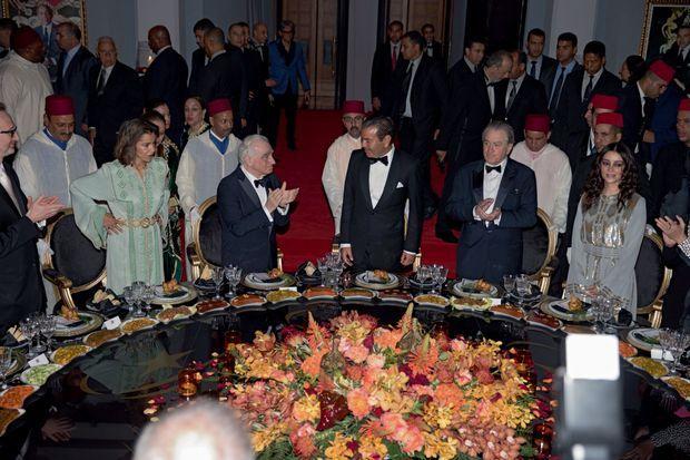 De g. à dr., la princesse Lalla Meryem, sœur du roi Mohammed VI, Martin Scorsese, le prince Moulay Rachid, Robert De Niro, la princesse Lalla Oum Keltoum, épouse de Moulay Rachid.