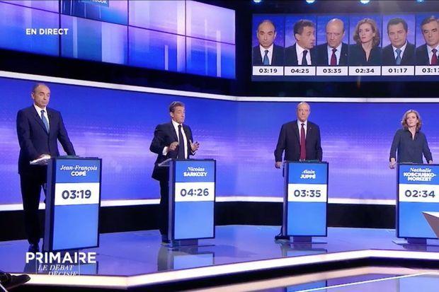 Echanges durant le débat de la primaire de la droite, jeudi soir sur Europe 1 et France 2.