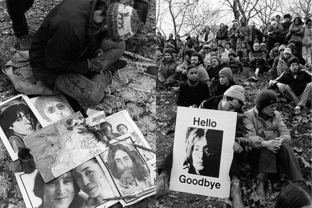 Des fans du chanteur pleurent sa mort, en 1980.